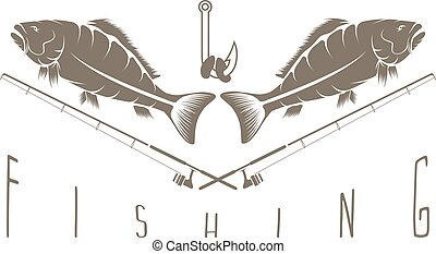 vintage fishing vector design template with carps