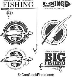 Vintage fishing vector labels, logos, emblems set