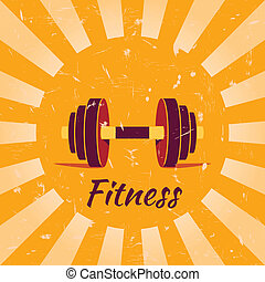 Vintage fitness poster background with dumbbells vector...