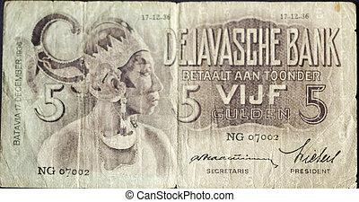 Vintage, Five guilder banknote from Java