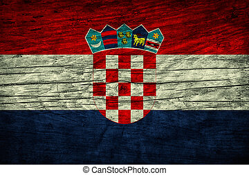 Vintage flag of Croatia on wooden surface