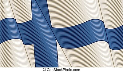 Vintage flag of Finland. Close-up background. Vector illustration in retro woodcut style.