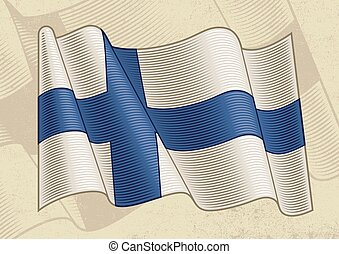 Vintage flag of Finland in woodcut style. Editable vector illustration with clipping mask.