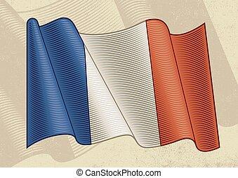Vintage Flag Of France - Vintage flag of France in woodcut ...
