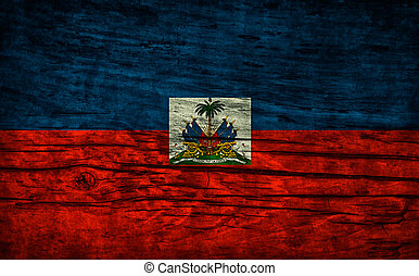 Vintage flag of Haiti on wooden surface