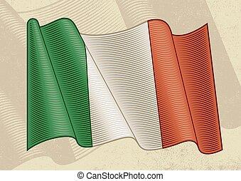 Vintage Flag Of Italy - Vintage flag of Italy in woodcut ...