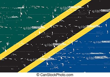 Vintage Flag of Tanzania . Grunge poster. National symbol series of flags. Retro style Flag. Vector Illustration