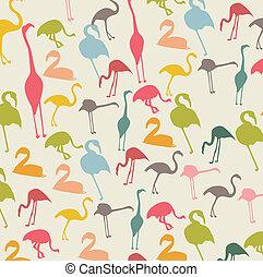 flamingo - vintage flamingo over beige background, animal....