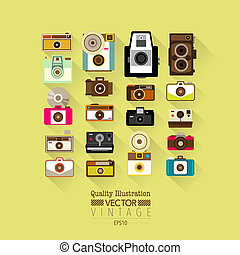 Vintage Flat Camera Vector Icon Set