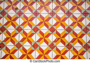 Vintage floor tiles pattern at asian temple