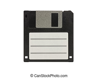 Vintage floppy disk front view blank label isolated on white