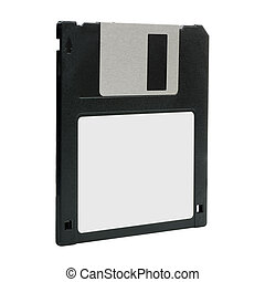 Vintage floppy disk perspective view blank label isolated on white