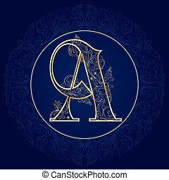 Vintage floral alphabet, letter A