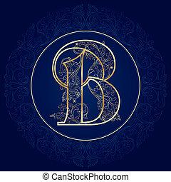 Vintage floral alphabet, letter B. Vector illustration