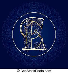 Vintage floral alphabet, letter E. Vector illustration