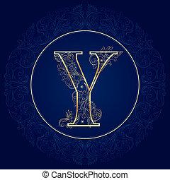 Vintage floral alphabet, letter Y. Vector illustration