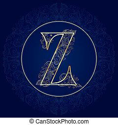 Vintage floral alphabet, letter Z. Vector illustration