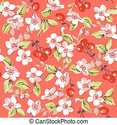 Vintage Floral and Cherry Background - seamless pattern - in vector