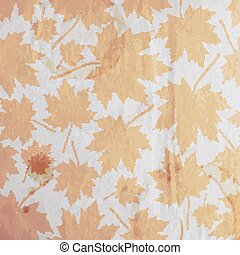 vintage floral autumn (fall) background with maple leaves on the old wrinkled paper texture
