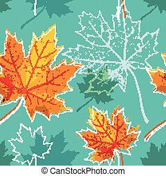 vintage floral autumn (fall) seamless background with maple leaves