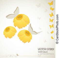 Vintage floral background - Daisies. Vector illustration.