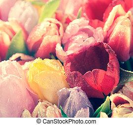 Vintage floral background of fresh tulips - Vintage effect...
