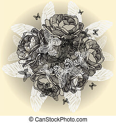 Vintage floral background of roses, butterflies, hand-drawing. Vector illustration.