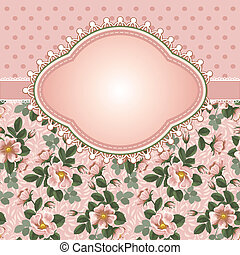 Romantic floral background with vintage flowers of briars