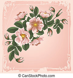Vintage floral background - Romantic floral background with ...