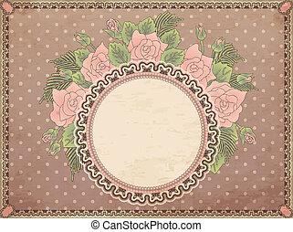 Vintage floral background, vector