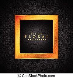 vintage floral background with golden frame