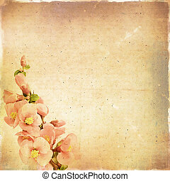Vintage floral background with pink flowers on a brown background old paper grunge, for any of your project