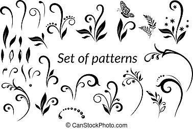 Vintage Floral Calligraphic Patterns