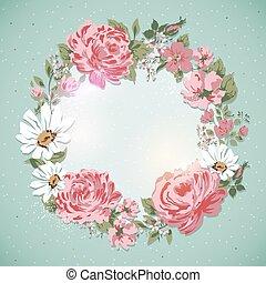 Vintage floral card. Border of flowers-rose, peony, ...