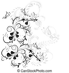 Vintage floral card with handdrawn flowers
