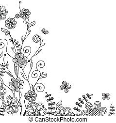 Vintage floral card with handdrawn flowers and butterflies -...