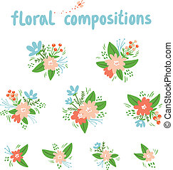 Vintage floral compositions vector collection