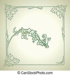 Vintage Floral Decorate Green Vector Frame