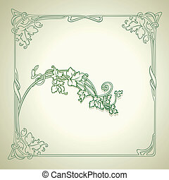 Vintage Floral Decorate Green Vector Frame
