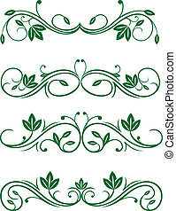 Vintage floral decorations isolated on white for design