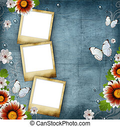 Vintage Floral design background flowers and butterflies