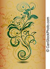 Vintage floral design element vector illustration.