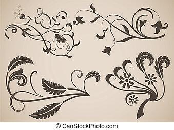 Vintage floral design elements vector illustration.