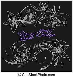 Vintage floral design - vector set isolated on black
