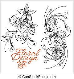 Vintage floral design - vector set isolated on white