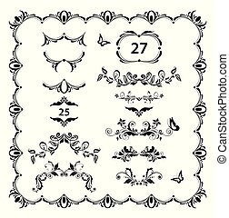 Vintage floral dividers, page ruler and headers vector set. Black and white retro design