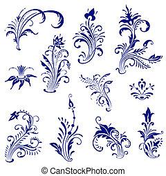 Vintage floral elements.