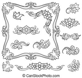 Vintage floral engraving decor elements