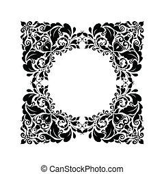 Vintage floral frame (black and whi
