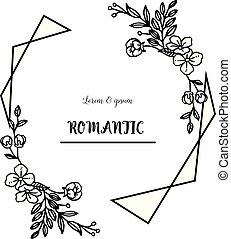 Vintage floral frame black and white, for card design of romantic. Vector
